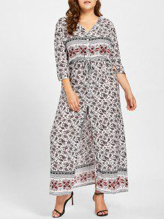 Front Slit Geometric Print Plus Size Dress - White 3xl