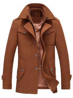 Epaulet Design Wool Blend Faux Twinset Jacket - Brown L