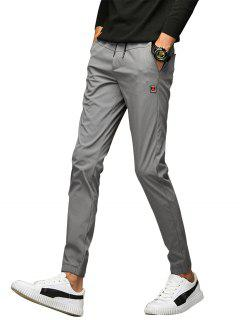 Applique Drawstring Beam Feet Jogger Pants - Gray 34