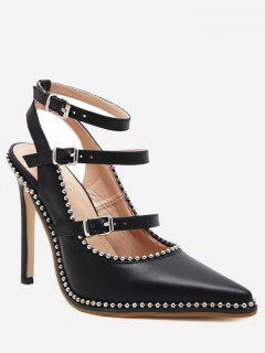Buckle Straps Stud Ankle Strap Pumps - Black 38