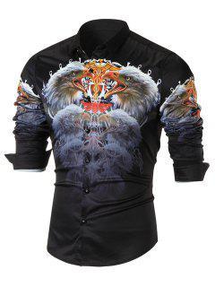 3D Eagle Printed Long Sleeve Casual Shirt - Black Xl