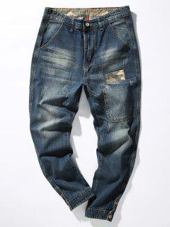 Zipper Fly Camouflage Panel Pocket Harem Jeans - Denim Blue 36