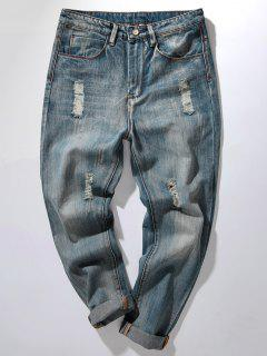 Zipper Fly Bleach Wash Distressed Harem Jeans - Denim Blue 34