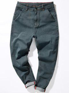 Zipper Fly Loose Fit Suture Pockets Harem Jeans - Gray 32