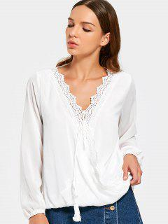 V Cuello De Ganchillo Panel Borlas Blusa - Blanco L