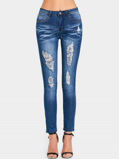 High Waist Pockets Ripped Jeans - Deep Blue L