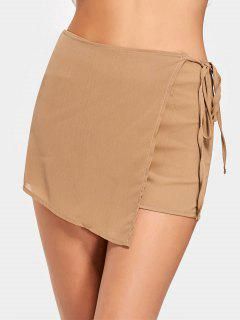 High Waist Self Tie Skorts - Camel Xl