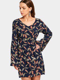 Blätter Drucken Langarm Gürtel Kleid - Multi Xl