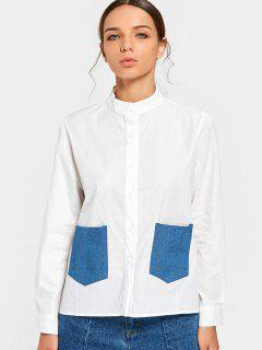 High Neck Button Up Bluse Mit Taschen - Weiß S