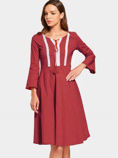 Patchwork Flare Sleeve High Waist Dress - Red S