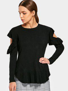 Cold Shoulder Ruffles Knitted Top - Black