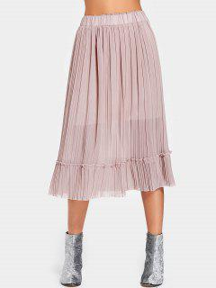 High Waist Pleated Flared Skirt - Pink