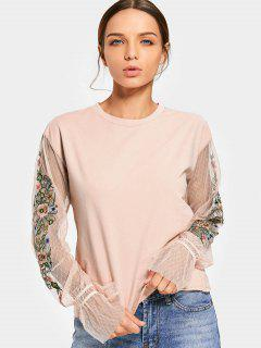 Mesh Panel Floral Patched Tee - Pink S