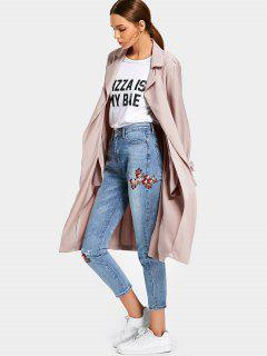Side Pockets Back Slit Belted Coat - Light Pink L