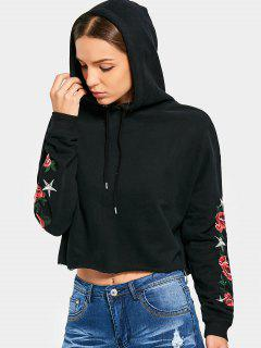 Floral Patched Drawstring Crop Hoodie - Black L