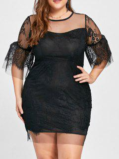 Plus Size Sheer Lace Insert Mini Bodycon Dress - Black 5xl