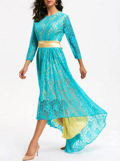 Lace High Low Formal Party Dress - Lake Blue Xl