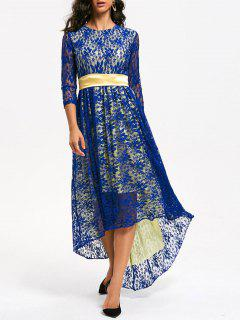 Lace High Low Formal Party Dress - Blue M
