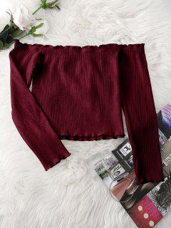 Knitted Ruffled Ribbed Off Shoulder Top - Wine Red