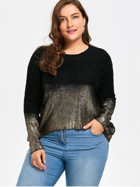 Suéter asimétrico de talla grande Ombre Glitter - NEGRO ORO Única Talla Mobile