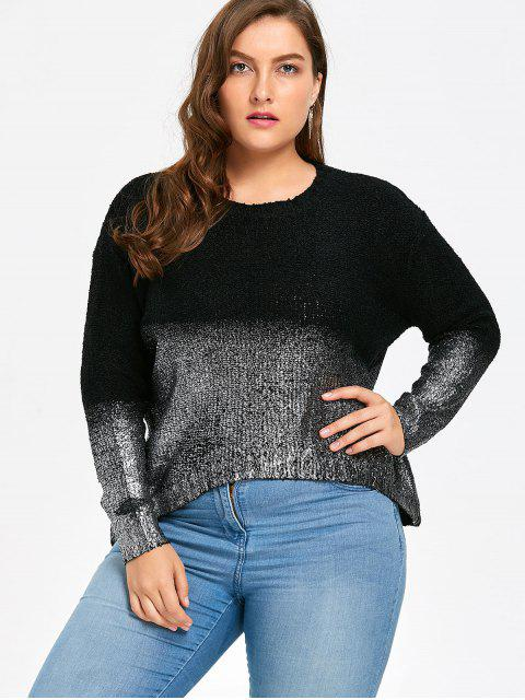 sale Plus Size Ombre Glitter Asymmetric Sweater - BLACK + SILVER ONE SIZE Mobile