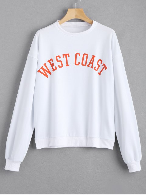 women's Loose Contrasting Letter Sweatshirt - WHITE S Mobile