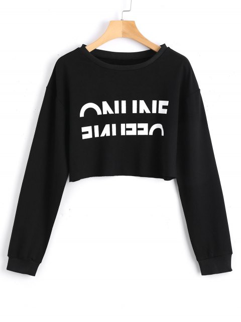 new Cropped Contrasting Letter Sweatshirt - BLACK S Mobile