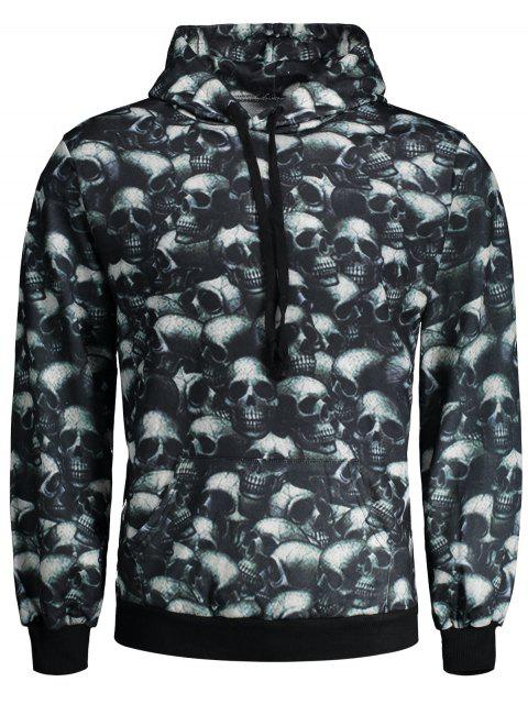 shop Skulls Print Hallowmas Hoodie - COLORMIX L Mobile