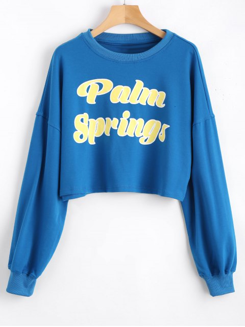 chic Casual Letter Cropped Sweatshirt - BLUE S Mobile
