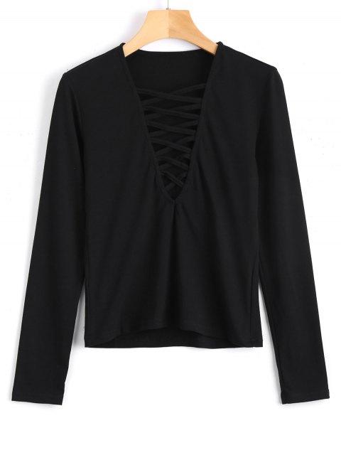 buy Long Sleeve Criss Cross Layering Top - BLACK S Mobile