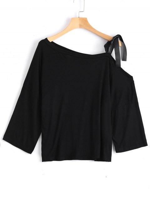 unique Cotton Tied Strap Cold Shoulder Top - BLACK S Mobile