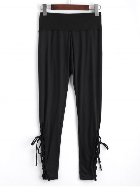 unique Ninth High Waisted Lace Up Leggings - BLACK M Mobile