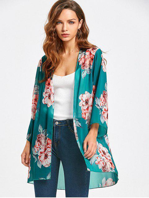shops Floral Chiffon Open Front Blouse - FLORAL XL Mobile