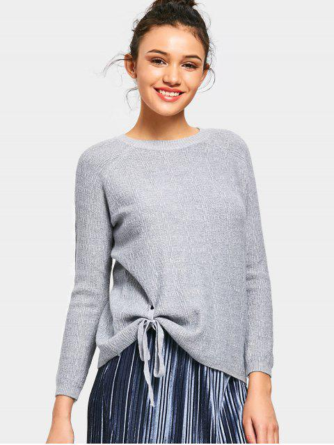 affordable Raglan Sleeve Bowknot Sweater - GRAY ONE SIZE Mobile