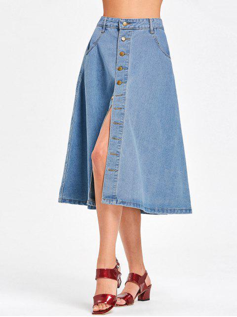 buy Denim Button Up Midi Skirt - DENIM BLUE L Mobile