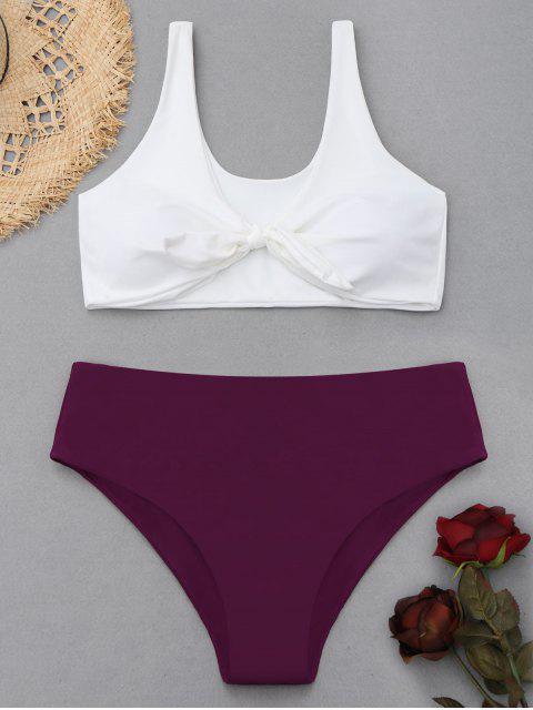 latest Two Tone Plus Size High Waisted Bikini - PURPLISH RED XL Mobile