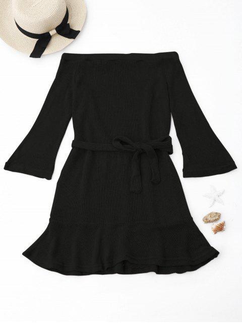 Gestricktes Schulterfreies Kleid mit Gürtel - Schwarz S Mobile