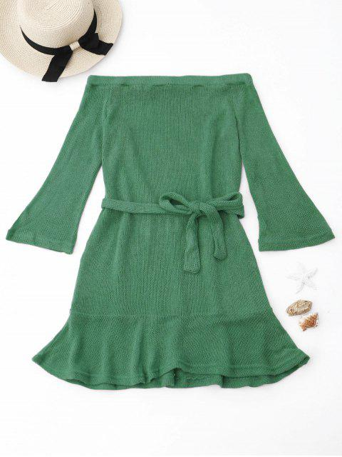 shop Knitted Off The Shoulder Cover-up Dress - GREEN L Mobile