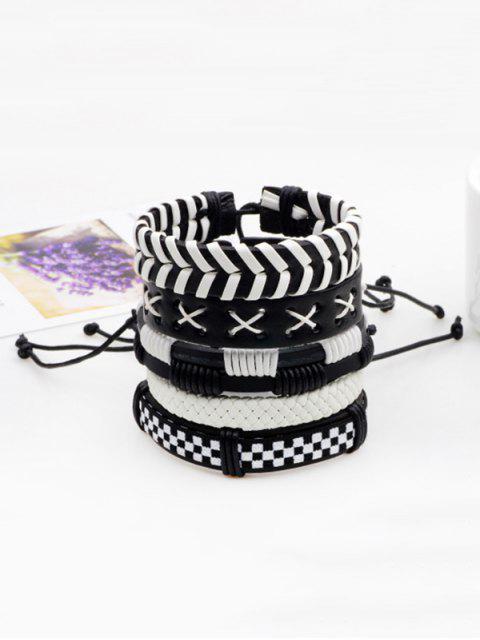 Layered Vintage Faux Leder gewebte Armband Set - Schwarz  Mobile