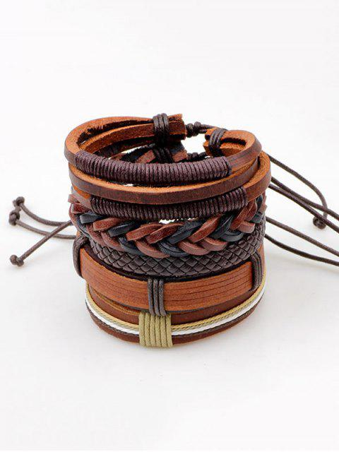 fancy Vintage Faux Leather Layered Bracelets - BROWN  Mobile