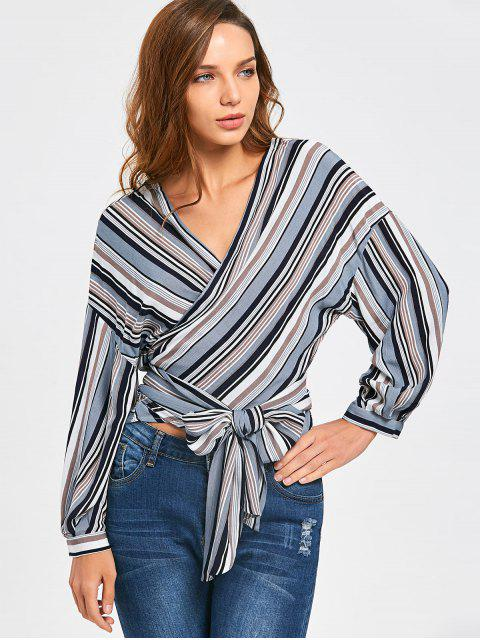 hot Front Knot Drop Shoulder Striped Wrap Blouse - STRIPE XL Mobile