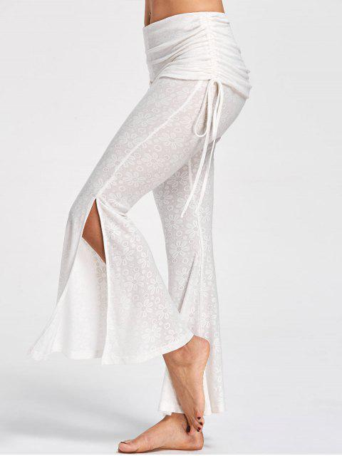outfits Foldover Floral Slit Flare Pants - OFF-WHITE 2XL Mobile