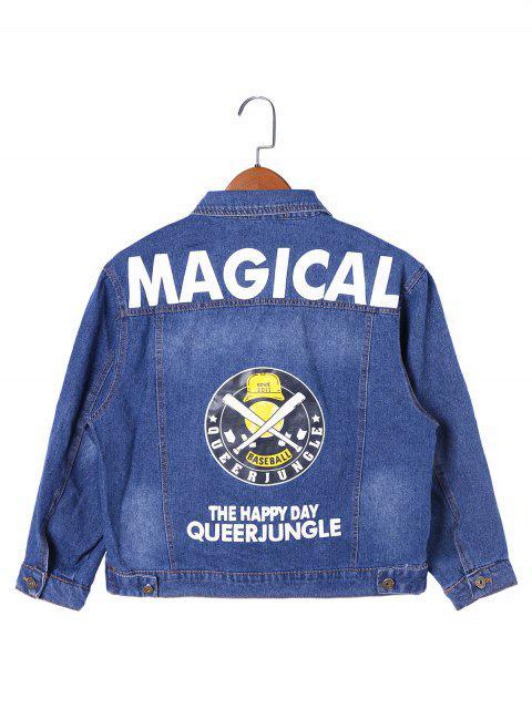 trendy Letter Print Frayed Hem Denim Jacket - DENIM BLUE 2XL Mobile