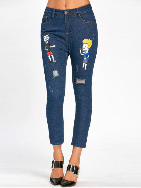 unique Cartoon Pattern Scratch Ripped Nine Minutes of Jeans - BLUE 2XL Mobile
