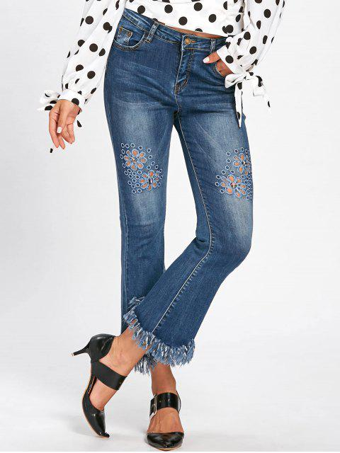 hot Hollow Out Cat's Whisker Fringe Nine Minutes of Jeans - BLUE XL Mobile
