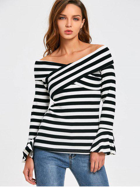 womens Front Cross Flare Sleeve Striped Knitwear - STRIPE 2XL Mobile