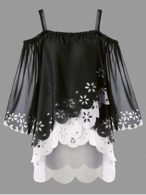 women's Plus Size Cold Shoulder High Low Scalloped Blouse - BLACK 5XL Mobile