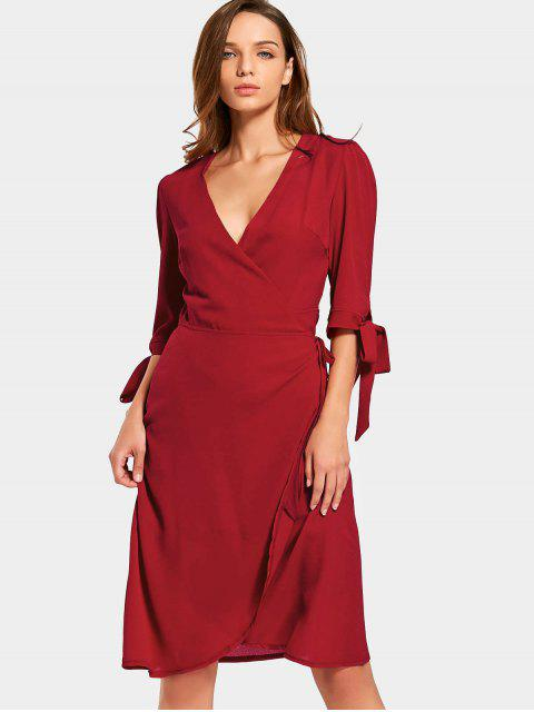 trendy Plunging Neck Plain Wrap Dress - RED S Mobile