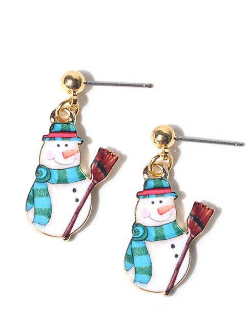Aleación de bolas de Navidad muñeco de nieve pendientes - Azul  Mobile