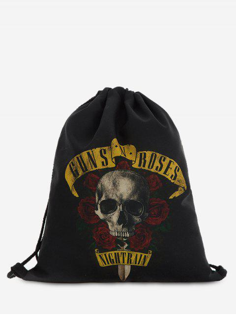affordable Roses Skull Drawstring Backpack - BLACK  Mobile